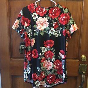 TMG New York Tops - Sexy🖤TMG NEW YORK Floral Blouse w/Strappy V-Neck